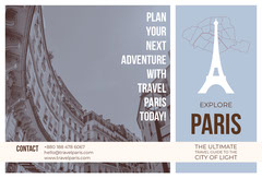 Blue and White Paris Brochure Agency