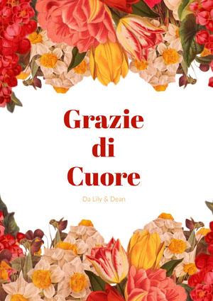 red and yellow floral thank you cards  Biglietto di ringraziamento