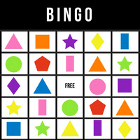 Bingo Card with Colorful Geometric Shapes cumpleaños