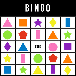 Bingo Card with Colorful Geometric Shapes Bingokort