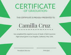 Green and Blue High School Graduation Certificate Back to School
