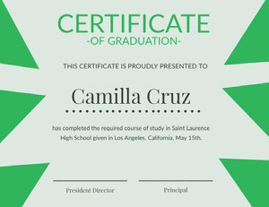 Green and Blue High School Graduation Certificate Certificat