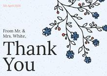 blue branches wedding thank you card  Wedding Thank You  Card