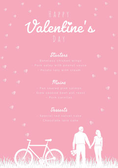 Pink and White Illustrated Valentine's Day Party Menu Bike
