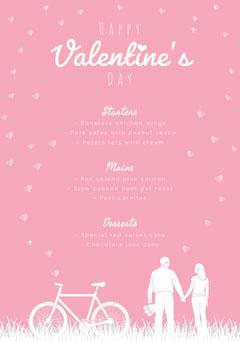 pink hearts valentines menu Bike