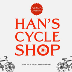 Red Cycle Shop Grand Opening Instagram Square  Grand Opening Flyer