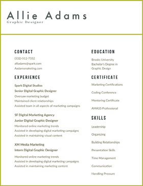 White and Black Graphic Designer Resume CV professionnel