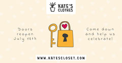 Yellow and White Lock and Key Illustration Fashion Store Reopening Facebook Post Celebration