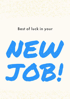 White, Blue and Black New Job Congratulation Card Farewell
