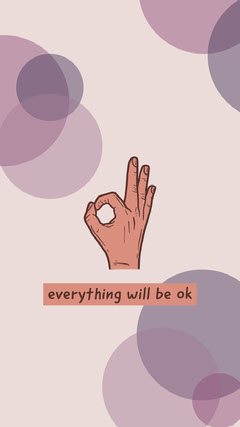 Violet Everything Will Be Ok Phone Wallpaper Background
