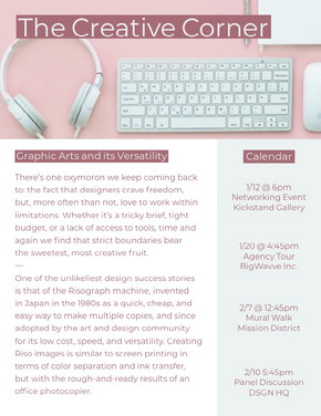 Pink Graphic Design Newsletter Graphic with Desk Newsletter