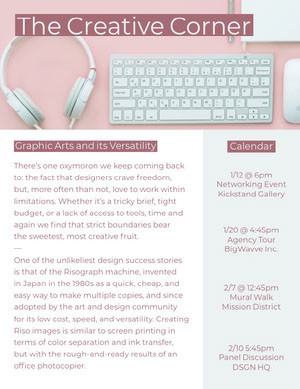 Pink Graphic Design Newsletter Graphic with Desk 뉴스레터