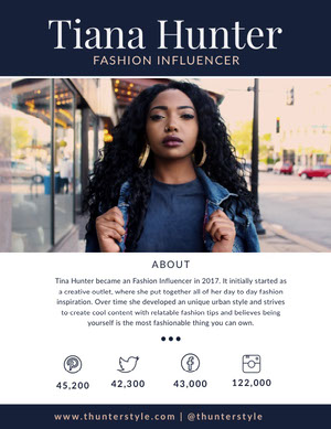 Dark Blue Fashion Influencer Media Kit with Woman in City Kit per i media