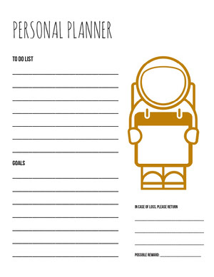 Brown and White Personal Planner  Planilha de metas