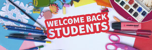 Multicolored Welcome Back to School Banner with School Supplies 배너