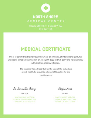 Green and White, Light Toned Medical Document Certificate  Medical Certificate