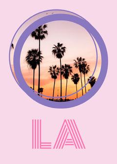 Pink and Violet LA Postcard Trees