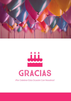 birthday balloons thank you cards  Tarjeta de agradecimiento