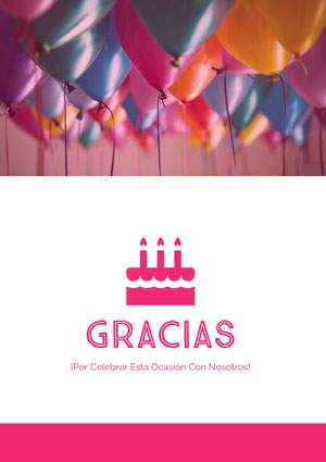 birthday balloons thank you cards  Tarjeta