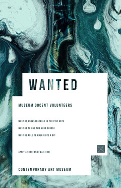 Cyan and White Museum Volunteers Wanted Flyer Job Poster