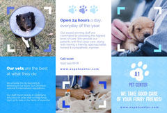 Blue Veterinary Brochure with Photos of Pets Cat