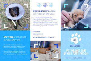 Blue Veterinary Brochure with Photos of Pets Brochure