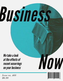 Teal Business Magazine Cover with Businessman Magazine Cover