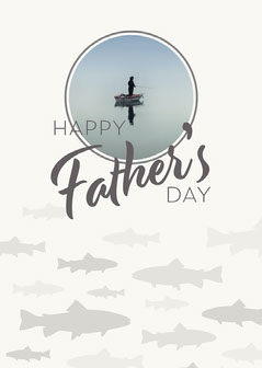 Grey Happy Father's Day Fishing  Card Grey