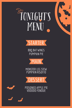 Orange and Black Bats and Moon Halloween Party Menu Halloween Party Menu
