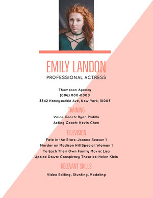 White and Pink Professional Resume Acting Resume