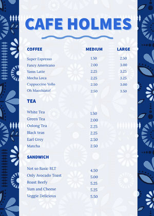 White and Navy Blue Cafe Menu カフェ メニュー