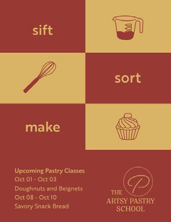 Red and Yellow, Dark Toned Artsy Pastry School Ad Flyer Cupcake