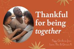 Orange & Gold Star Christmas Card Gold