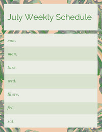 Green July Weekly Schedule with Palm Leaves Rooster