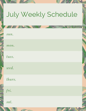 Green July Weekly Schedule with Palm Leaves Weekly Schedule