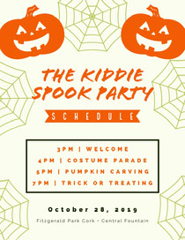 Orange and White Halloween Kid Spooky Party Schedule  Scary