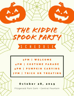 Halloween Kid Spooky Party Schedule  Halloween Party Schedule