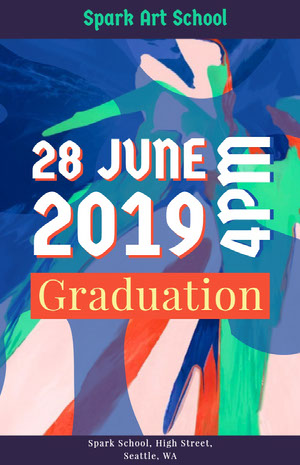 White and Blue Graduation Poster Kunstplakat