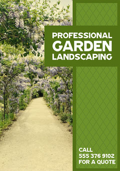Green & White Purple Flower Tunnel A5 Flyer Garden