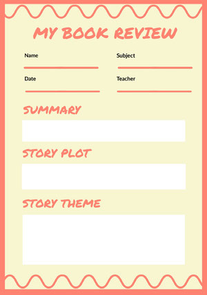 Pink and White Empty Book Review Worksheet Book Review