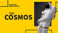 Yellow Cosmos Youtube Channel Art with Astronaut Science