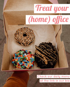 Pink Accent Bakery Instagram Portrait Ad with Photo of Box of Doughnuts Donut