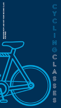 Blue Minimalistc Cycling Classes Ad Instagram Story Bike