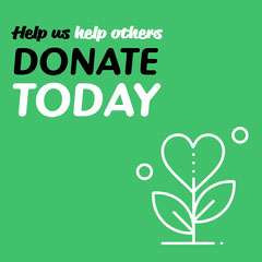 Blue green and white simple donate today Instagram square Donations Flyer