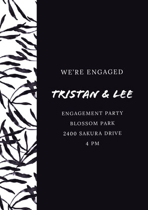 White and Black Engagement Party Invitation Kihlausilmoitus