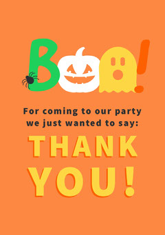 Boo Costume Halloween Party Thank You Card Halloween Party Thank you Card