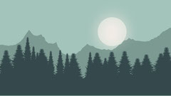 Green Forest and Mountains Illustration Zoom Background Forest