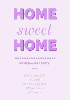 Pink Housewarming Party Invitation Card Typography