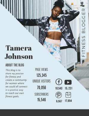 Light Blue Fitness Blogger Media Kit with Fit Woman Mediesæt