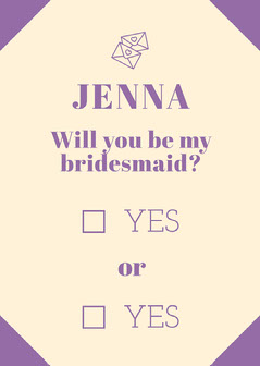 purple playful bridesmaid invitation Will You Be My Bridesmaid Card